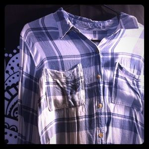 Blue/White Plaid Button-Up